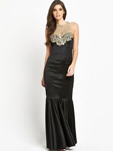 BNWT Lipsy VIP Crochet Halter Maxi Evening Occasion Prom Ball Gown Dress Size 14