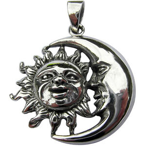 Sterling Silver (925)  Sun And Moon  Pendant    (7 Grams)  !!    Brand   New !!