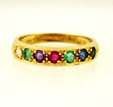 9Carat Yellow Gold 'D.E.A.R.E.S.T' Multi Stone Eternity Ring (Size N) 4mm Widest