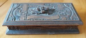 Antique Hand Carved Wooden Treen Black Forest Stamp Box 4 compartment