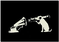 "BANKSY STREET ART CANVAS PRINT HMV Gramophone rocket Dog 18""X 12"" stencil poster"