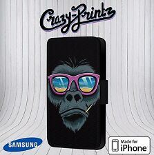 Cool Monkey Shades Sunglasses fits iPhone / Samsung Leather Flip Case Cover E11