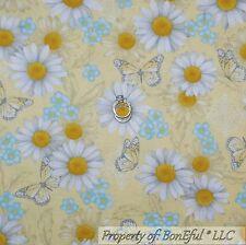 BonEful Fabric Cotton Quilt Yellow White Blue Flower Daisy Butterfly Girl SCRAP
