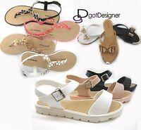 NEW Women's Fashion Sandals Flip-flops Shoes Flats Buckles Straps Summer CUTE