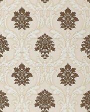 EDEM 052-23 Tapete Barock Damask Relief-Ornamente Flockoptik braun weiß beige