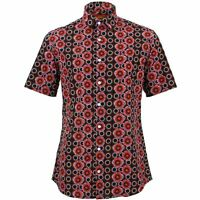 Mens Shirt Loud Originals TAILORED FIT Poppy Black Retro Psychedelic Fancy