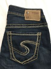 Silver Suki Jeans 26/32 High Rise Straight Leg Distressed Thick Stich Stretch