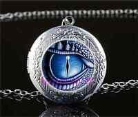 Dragon Eye Photo Cabochon Glass Tibet Silver Locket Pendant Necklace