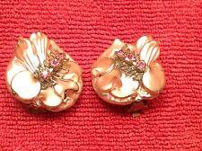Ladies Vintage Fashion Earrings Light Bronze Enamel W/ Purple Faux Gems Flowers
