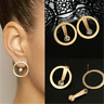 Cool Minimalist Gold Crystal Beaded Circle Earring Double Side Ear Studs Jewelry