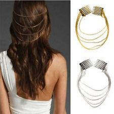 Fashion Women Metal Tassel Chain Hair Comb Bridal Leaf Headwear Jewelry Gift