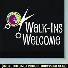 WALK-INS WELCOME SHEARS Vinyl Decal Sticker Hair Salon Window Front Door Sign