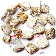 15-20mm Banded White Shell MOP Freeform Shape Gemstone Loose Beads Strand 15""