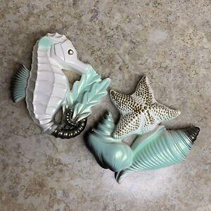 Miller Studio Wall Decor FLAW Seahorse X Starfish Shells Set Vintage  Chalkware