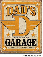 Dad's Garage Tin Sign 1894 Made in USA - Not 1/2 Sized Chinese Counterfeit