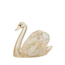 Lalique Swan Head Up Sculpture, Gold