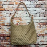 Dooney and Bourke Signature Brown Canvas Leather Trim Hobo Shoulder Purse