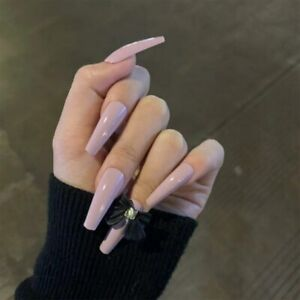 Taro Purple Fake Nails With Black Bow Long Coffin Full False Press On Nails Tips