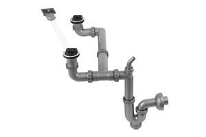 Ablauf, Siphon, manuell, Überlauf, Spülmaschinenanschluss, 1,5 Zoll, 2 Becken