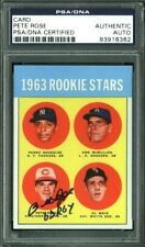 """Reds Pete Rose """"63 ROY"""" Signed Card Reprint 1963 Topps RC #537 PSA/DNA Slabbed"""