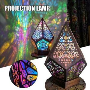 Bohemian Mosaic Starry Sky Floor Projection Lamps Colorful Table Bedside Light