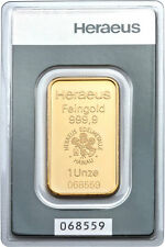 Lingot or  1 once or pur 999/1000 Heraeus numéroté gold bar 1 oz