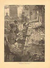 Doll Factory, Women Making Dolls, Hair, Vintage 1891 German Antique Art Print
