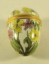 Halcyon Days Enamels England Yellow Purple Floral Twist Trinket Box Pill Box