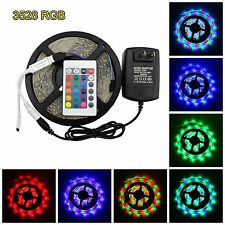 5M 16.4ft SMD RGB 3528 IP65 Waterproof 300 LED Strip Light Mini Remote Power Kit