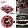2X Red 12V 139dB Dual Car Grille Horn Compact Super Tone Loud  118 139Db