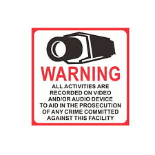 Home Surveillance Security Camera Video CCTV Sticker Warning Signs 10Pcs Hotsale