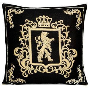 18x18 Royal Monogram Lion Tapestry Pillow, Black and Gold