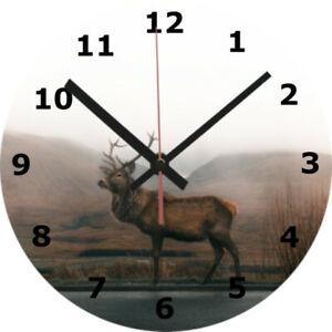 WALL CLOCK STAG 25cm Deer Animal Wildlife Nature Home Decor diy Decoration 1085