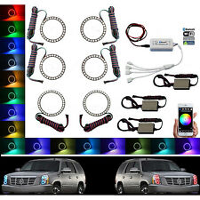 07-14 Cadillac Escalade Multi-Color Changing LED Headlight Halo Ring BLUETOOTH