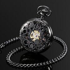 ESS Pocket Watch Men's Black Case White Hand WINDING Mechanical Movement Chain