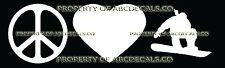PEACE LOVE SNOWBOARD Front Grab JUMPING FEMALE Sticker Car Bumper Window Decal