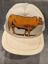 Vintage Snapback Trucker Hat - BULL Cow Cattle Farm Hat - Woven Mesh