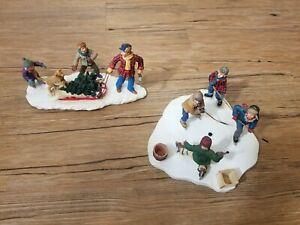 Lot of 2 LEMAX MEMORY MAKERS Christmas TREE Holiday Village HOckey Sled Children