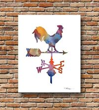 Vintage Weathervane Rooster Abstract Watercolor 11 x 14 Art Print by DJR