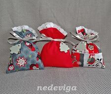 Adventskalender Stoff-Säckchen grau rot 24 Beutel - Eulen & Sterne - Handarbeit