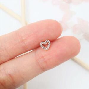 Tiny Heart Helix Stud Earring Cartilage Piercing Diamond 10K Rose Gold Overlay