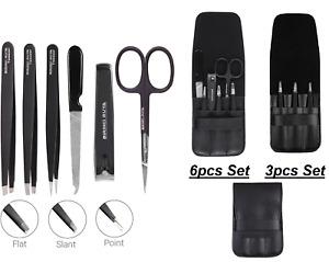 Tweezers Set 3/6 Piece Professional Stainless Steel Eyebrow Hair Pluckers + Case