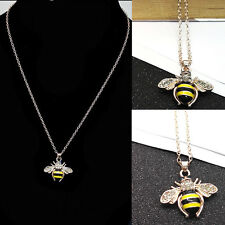 Women Cute Rhinestone Yellow Bee Pendant Animal Bumblebee Necklace Long Chain