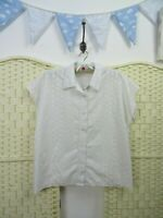 VINTAGE white broderie anglaise shirt blouse top C&A  boho summer crisp  L