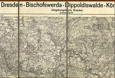 Alte Landkarte Sachsen Dresden Elbe Pirna Pulsnitz Erzgebirge 1924