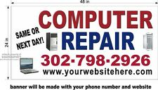 2' x 4' VINYL BANNER CUSTOM COMPUTER REPAIR WITH YOUR PHONE NUMBER AND WEB