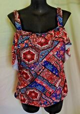 "AUTOGRAPH MOROCCAN COLOURS ""TILE PATTERN"" COLD SHOULDER TANKINI TOP-SIZE 26 NEW"