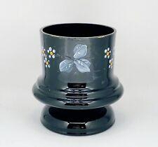 "Vintage Hand Blown Hand Enameled Black Amethyst Glass Planter Jar Vase 4""W 4.5""H"