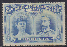 Rhodesia 1910 2.1/2d Two pence halfpenny chalky blue double head sg 133 MH
