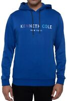Kenneth Cole Reaction Mens Sweater Blue Size Medium M Logo Hooded $79 #147